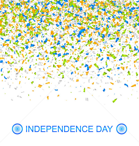Celebration Banner for Indian Independence Day with Confetti in National Colors Stock photo © smeagorl
