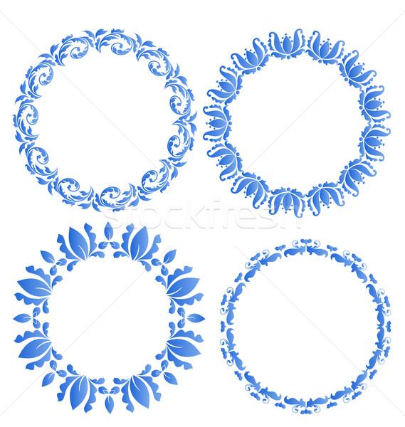 Set floral ornate round frames for your design of celebration po Stock photo © smeagorl