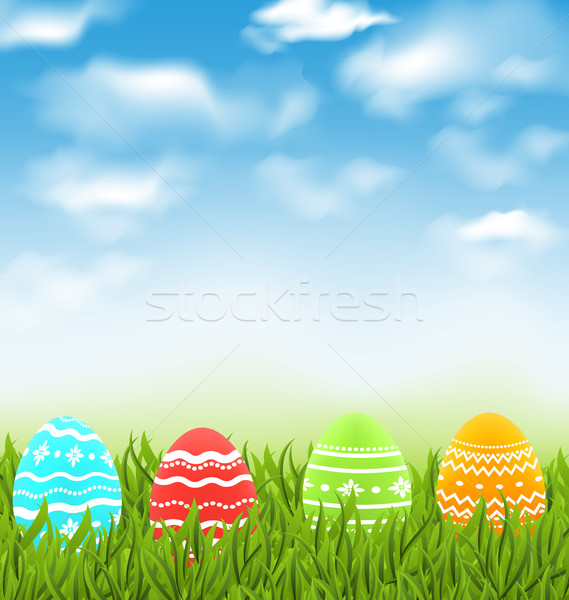 Easter natural landscape with traditional colorful eggs in grass Stock photo © smeagorl