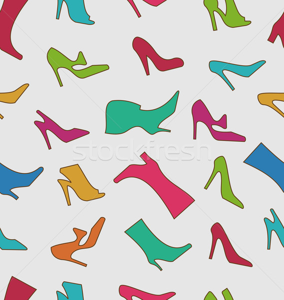 Seamless Pattern with Colorful Women Footwear Stock photo © smeagorl
