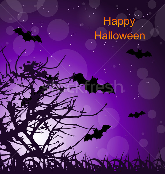 Halloween Night Background with Bats Stock photo © smeagorl