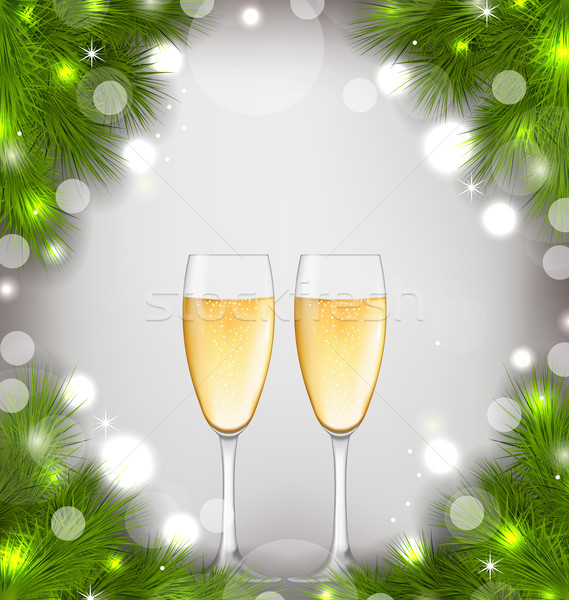 Merry Christmas Background with Glasses of Champagne Stock photo © smeagorl