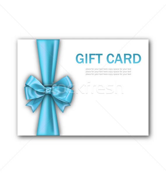 Dekoriert Geschenkkarte blau Band Bogen Illustration Stock foto © smeagorl