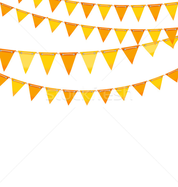 Stock photo: Autumn Holiday Background with Orange and Yellow Bunting Flags