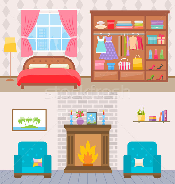 Bedroom with furniture and window. Wardrobe with clothes and mirror. Flat style vector illustration. Stock photo © smeagorl