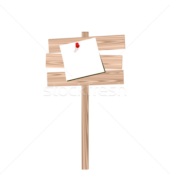 Illustration of wood billboard with attached blank paper Stock photo © smeagorl