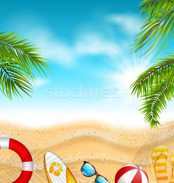 Mooie banner palmbladeren strandbal surfen boord Stockfoto © smeagorl