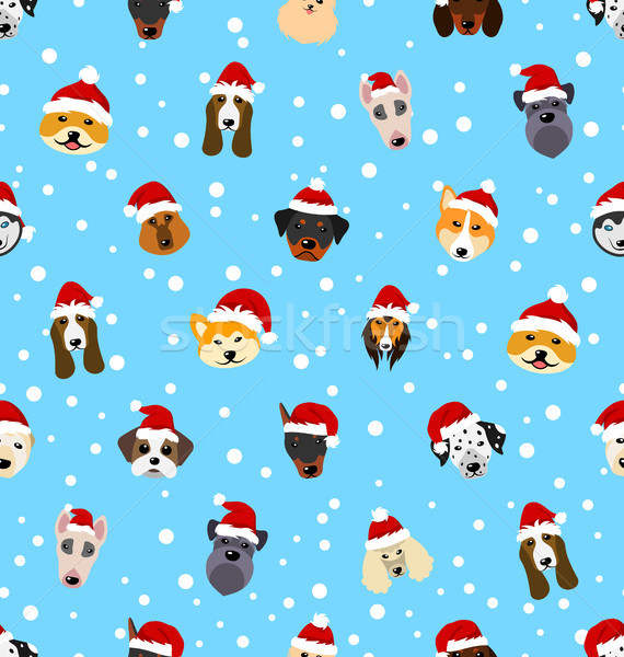 Seamless Pattern with Different Breeds of Dogs in Hats of Santa Claus, Symbols New Year 2018 Stock photo © smeagorl