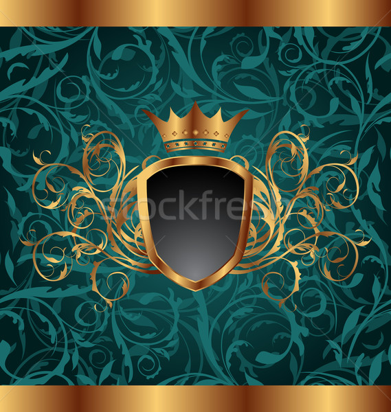 Gold vintage frame with heraldic elements (crown, shield), seaml Stock photo © smeagorl
