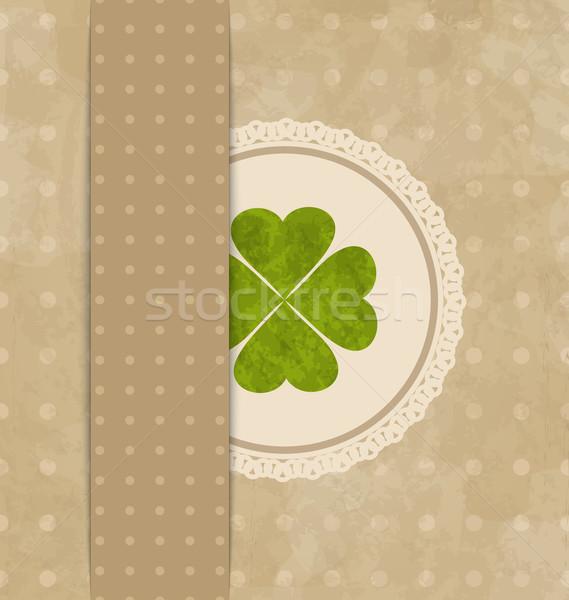 Bağbozumu kart yonca Aziz Patrick Günü örnek kâğıt Stok fotoğraf © smeagorl