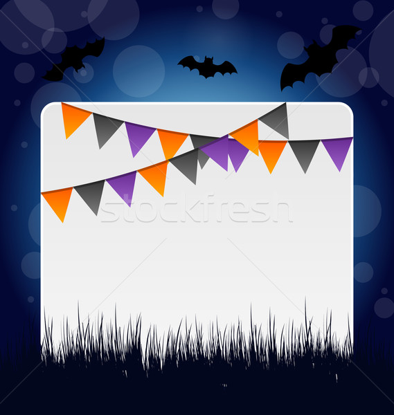 Stock photo: Halloween invitation with hanging flags
