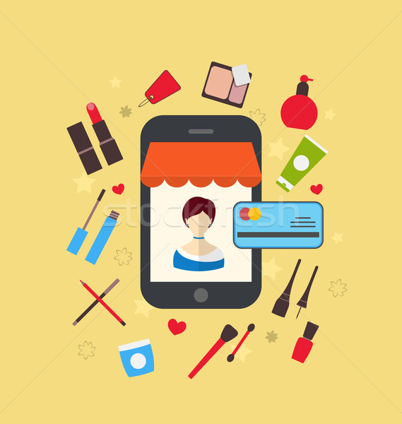 Woman buys cosmetic merchandises in online store. E-commerce con Stock photo © smeagorl