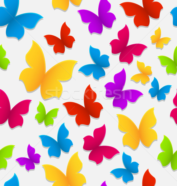 Seamless pattern with colorful butterflies, repeating backdrop Stock photo © smeagorl