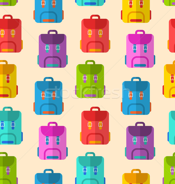 Seamless Pattern with Colorful School Rucksacks Stock photo © smeagorl