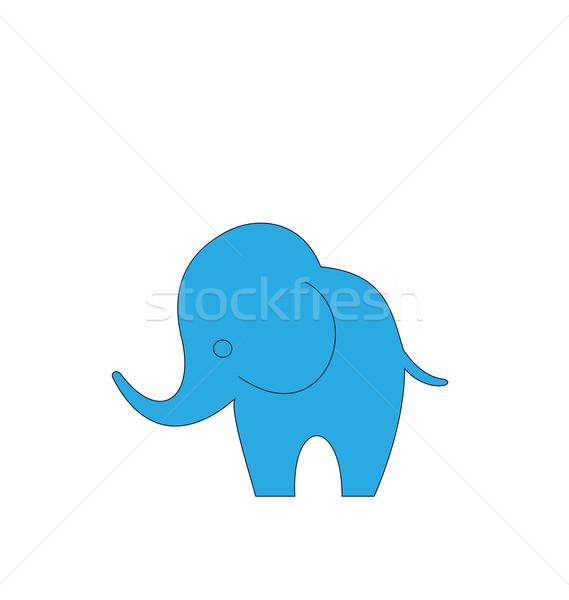 Cartoon elefante aislado blanco ilustración dibujado a mano Foto stock © smeagorl