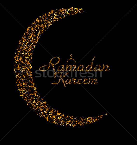 Ramadan Kareem Background with Moon and Calligraphy Text Made of Golden Confetti Stock photo © smeagorl