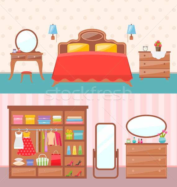 Flat design bedroom interior. Vector illustration. Modern furniture, bunk bed, carpet, table lamp. B Stock photo © smeagorl