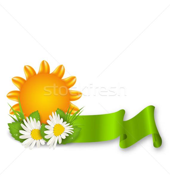 Boldog nyár virágok illusztráció szalag húsvét Stock fotó © smeagorl