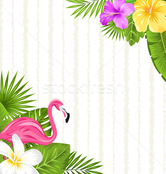 Beautiful seamless floral pattern background with pink flamingo, tropical flowers and plants Stock photo © smeagorl