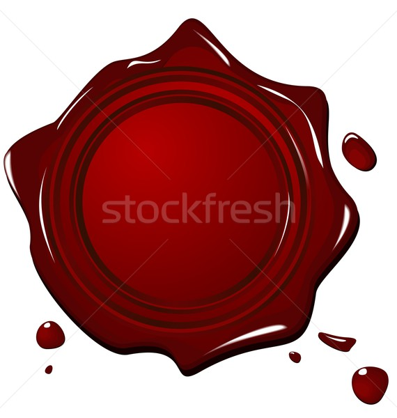 Illustration of wax grunge red seal Stock photo © smeagorl