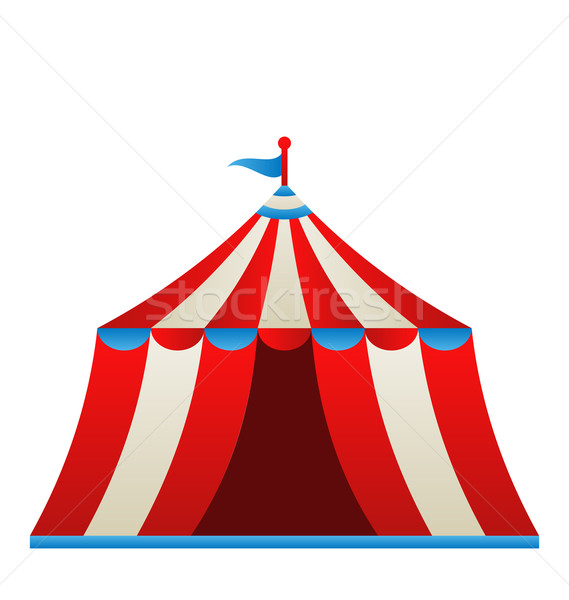 Open circus stripe tent isolated on white background Stock photo © smeagorl