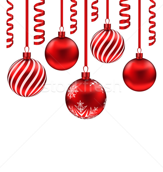 Set red glass balls with serpentine for Merry Christmas, isolate Stock photo © smeagorl
