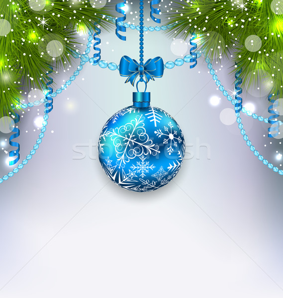 Christmas glass ball, fir branches, streamer, copy space for you Stock photo © smeagorl