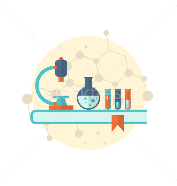 Flat icon of objects chemical laboratory Stock photo © smeagorl