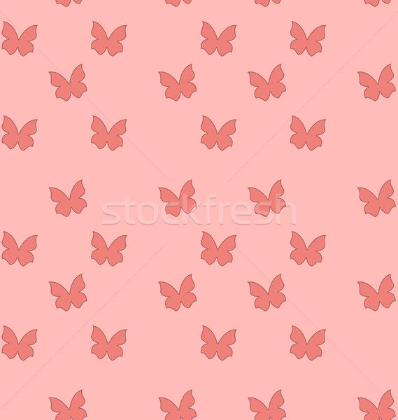 Foto stock: Sem · costura · textura · borboletas · bonitinho · vintage · ilustração