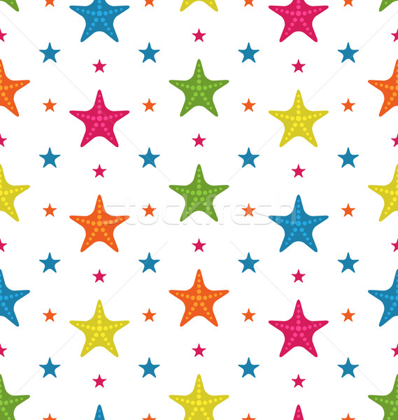 Colorful Starfishes, Summer Seamless Background Stock photo © smeagorl