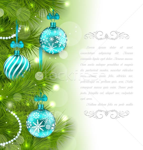 Noël carte sapin illustration verre Photo stock © smeagorl