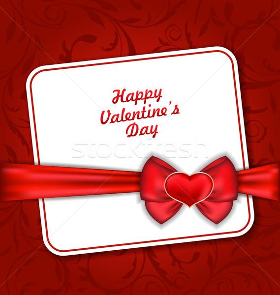 Stock fotó: Gyönyörű · üdvözlőlap · valentin · nap · illusztráció · piros · szív