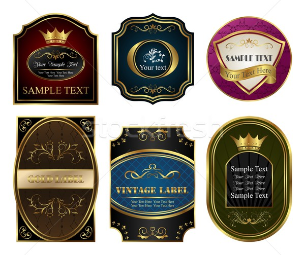 set colored gold-framed labels Stock photo © smeagorl