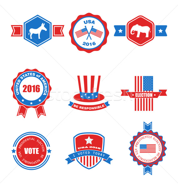 Set of Various Voting Graphics Objects and Labels, Emblems, Symbols Stock photo © smeagorl