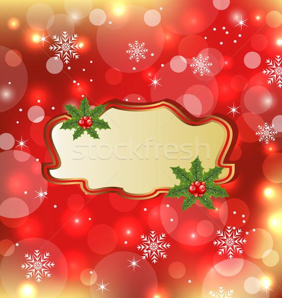 Template frame with mistletoe for design christmas card Stock photo © smeagorl