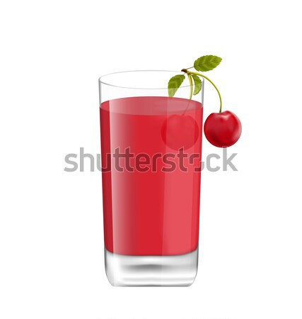 Juice in Glass with Two Cherries Isolated on White Background Stock photo © smeagorl