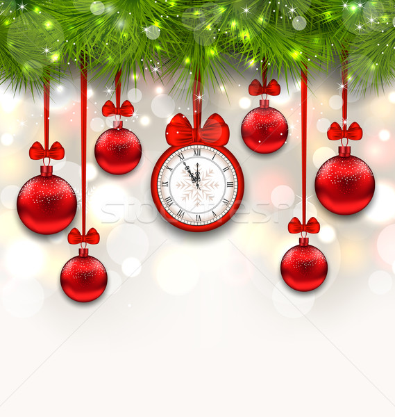 New Year Shimmering Background with Clock Stock photo © smeagorl