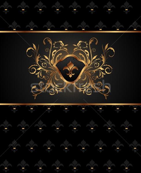 Stock fotó: Arany · keret · elemek · illusztráció · textúra · terv