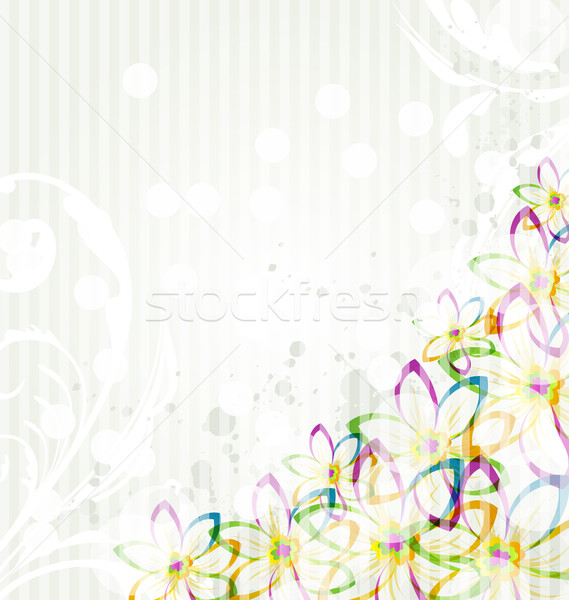 Multicolor flowers background with transparency elements for des Stock photo © smeagorl