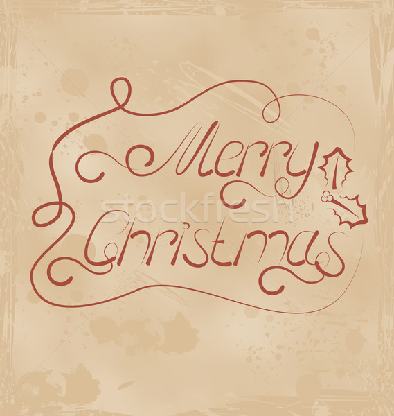 Calligraphic Christmas lettering, grunge texture Stock photo © smeagorl
