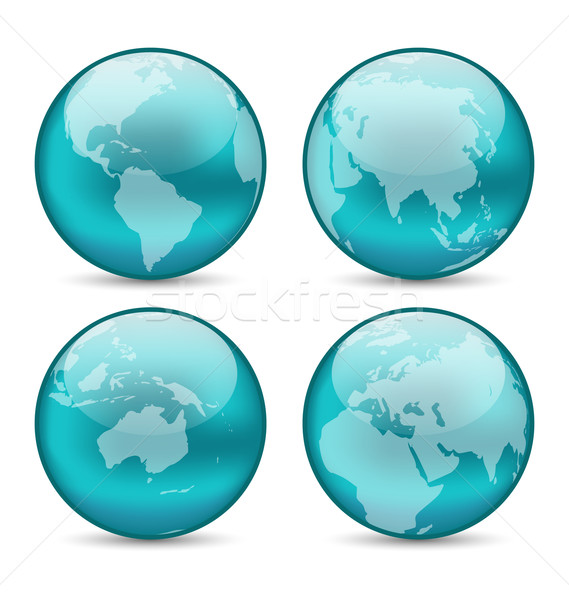 Set globes showing earth with continents Stock photo © smeagorl