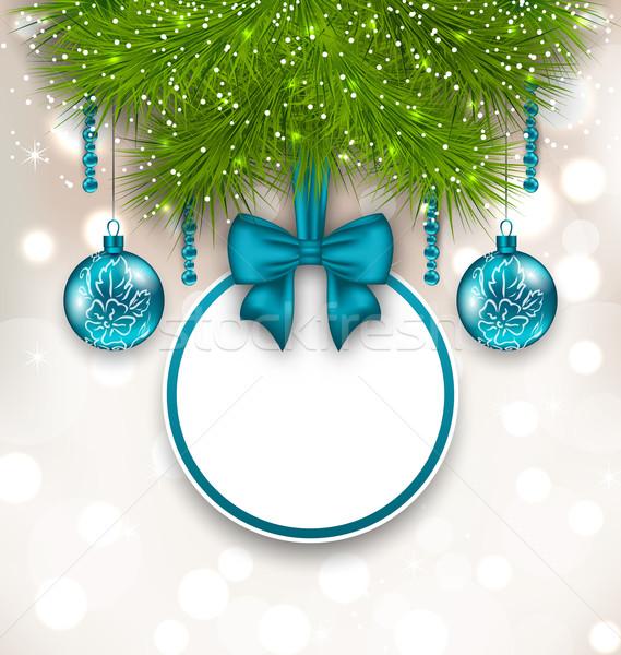 Natal cartão de presente vidro ilustração árvore Foto stock © smeagorl