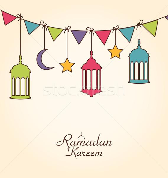 Foto stock: Celebração · cartão · ramadan · ilustração · colorido · enforcamento