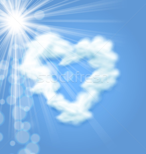 Sun Fluffy Cloud Shape Heart Love Symbol Stock photo © smeagorl