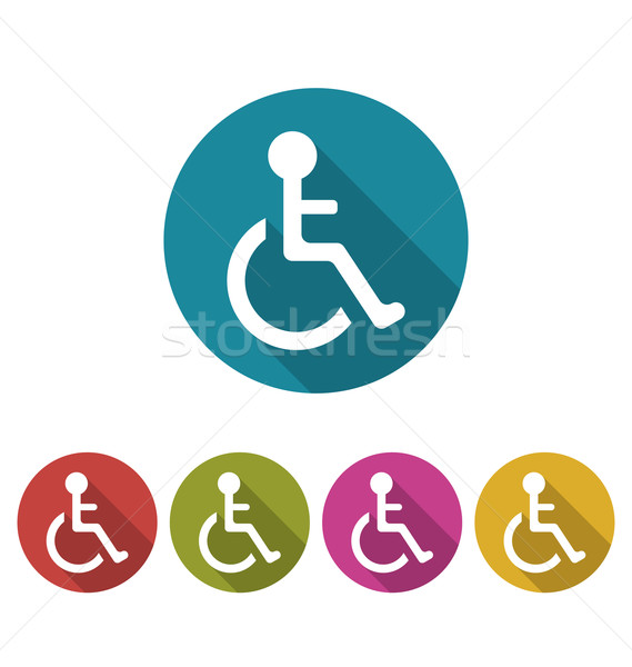 Colorful Pictogram of Disabled in Wheelchai Stock photo © smeagorl
