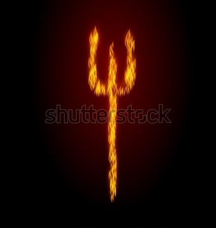 Concept Fire Trident on Black Background Stock photo © smeagorl