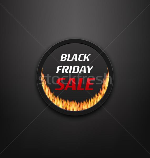 Keret webes gomb tűz láng black friday vásár Stock fotó © smeagorl