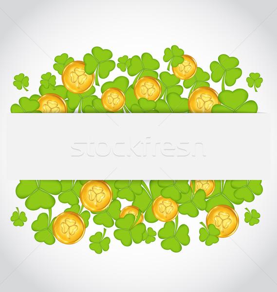 Célébration carte or pièces illustration jour de St Patrick Photo stock © smeagorl