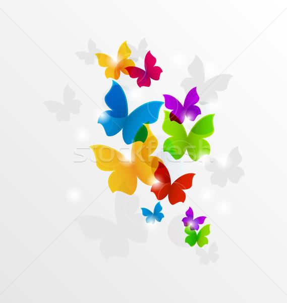 Abstract regenboog vlinders kleurrijk illustratie papier Stockfoto © smeagorl