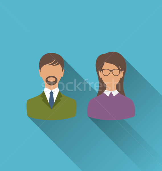 Male and female user avatars. Flat icons with long shadow Stock photo © smeagorl